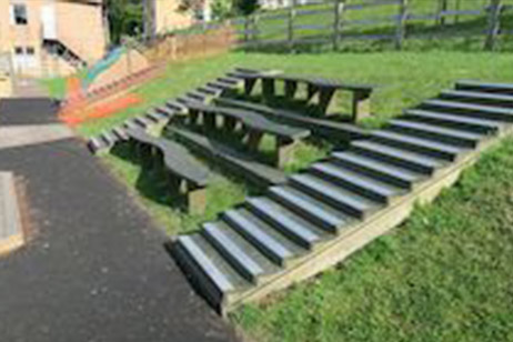 school timber steps and chairs from M&M Timber