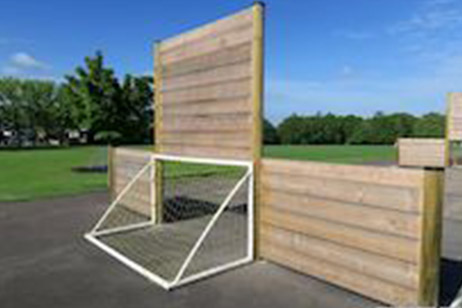 school timber play area football goal