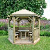hexagonal garden gazebo timber design from M&M Timber